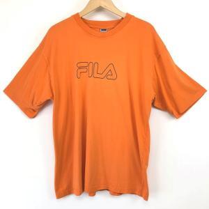 【古着】 FILA フィラ ロゴプリントTシャツ オレンジ系 メンズXL以上 【中古】 n003635|outfit-vintage