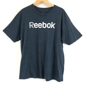 【古着】 Reebok リーボック ロゴプリントTシャツ ネイビー系 メンズXL 【中古】 n003646 outfit-vintage
