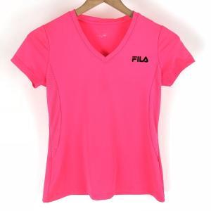 【古着】 FILA フィラ スポーツTシャツ Vネック ピンク系 レディースS 【中古】 n003861|outfit-vintage