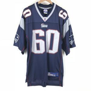 リーボック NFL ニューイングランドパトリオッツ フットボールジャージ メッシュ Vネック 切り替え ネイビー系 メンズM n004551 outfit-vintage