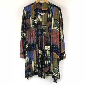 【古着】 ガウン made in USA サテン 総柄 半端袖 ロング丈 ブラック系 レディースXL以上 【中古】 n007646 outfit-vintage