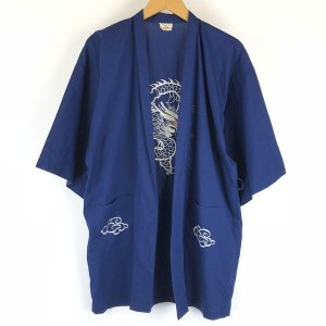 【古着】 チャイナガウン ドラゴン 龍 刺繍 5分袖 ネイビー系 メンズS 【中古】 n008432 outfit-vintage