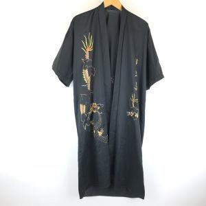 【古着】 チャイナガウン ドラゴン 龍 刺繍 半袖 ブラック系 メンズM 【中古】 n008433 outfit-vintage
