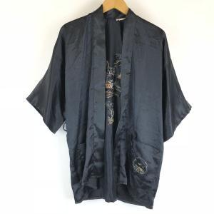 【古着】 チャイナガウン 風景 刺繍 半袖 ブラック系 メンズM 【中古】 n008434 outfit-vintage