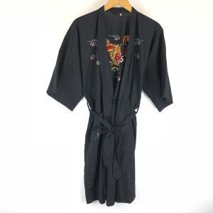 【古着】 チャイナガウン ドラゴン 龍 雲 刺繍 半袖 ブラック系 メンズS 【中古】 n008435 outfit-vintage
