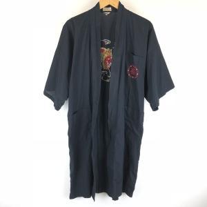 【古着】 チャイナガウン ドラゴン 龍 福 刺繍 ポケット付き ブラック系 メンズS 【中古】 n008439 outfit-vintage