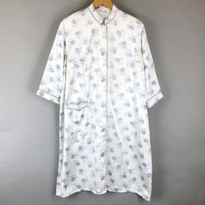 【古着】 パジャマガウン 蓮 裏起毛 スタンドカラー 5分袖 ホワイト系 メンズXL以上 【中古】 n008440 outfit-vintage
