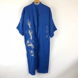 【古着】 チャイナガウン ドラゴン刺繍 ドロップショルダー 半袖 ブルー系 メンズXL 【中古】 n008743 outfit-vintage