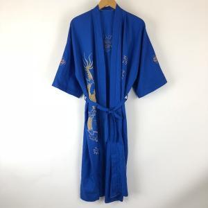 【古着】 チャイナガウン ドラゴン刺繍 ドロップショルダー 半袖 ブルー系 メンズXL 【中古】 n008745 outfit-vintage