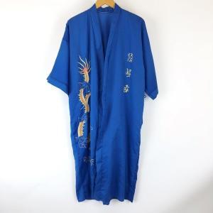 【古着】 チャイナガウン ドラゴン刺繍 ドロップショルダー 半袖 ブルー系 メンズM 【中古】 n008746 outfit-vintage