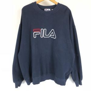 【古着】 FILA フィラ ロゴプリントスウェット デカロゴ 刺繍 ネイビー系 メンズXL以上 【中古】 n010398|outfit-vintage
