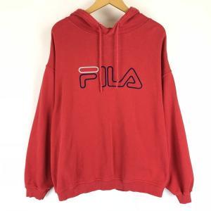 【古着】 FILA フィラ ロゴプリントパーカー 刺繍 レッド系 メンズXL 【中古】 n010408|outfit-vintage