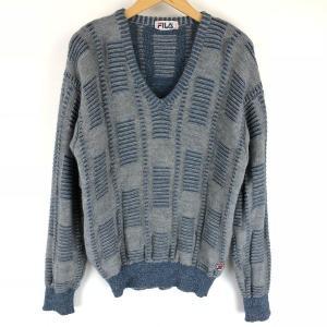 【古着】 フィラ 総柄セーター made in ITALY ジャガード 総柄 80年代 Vネック ワッペン付き グレー系 メンズL n010923|outfit-vintage
