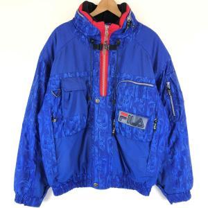 フィラ 中綿ジャケット スキージャケット SKI TEAM ITALIA  スタンドカラー ワッペン付き ブルー系 メンズM n012090|outfit-vintage