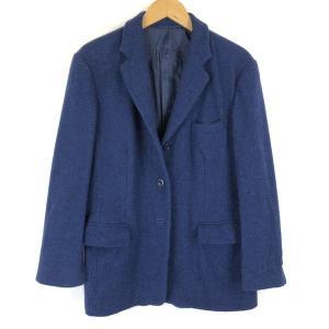 【古着】 HarrisTweed ハリスツィード ツイードジャケット 3つボタン 無地 ヴィンテージ ブルー系 レディースXL n013016|outfit-vintage