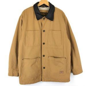 Timberland ティンバーランド カバーオール レザー襟 裏ボア ダック生地 内ポケあり 無地 ブラウン系 メンズM n013512|outfit-vintage