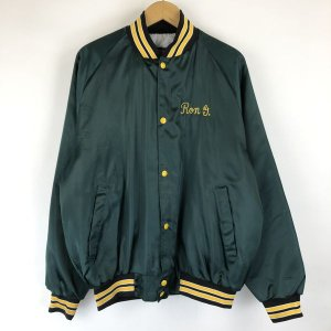 ASW jackets ナイロンスタジャン サテン系 チェーンステッチ バック刺繍 薄綿入り グリーン系 メンズL n013632|outfit-vintage