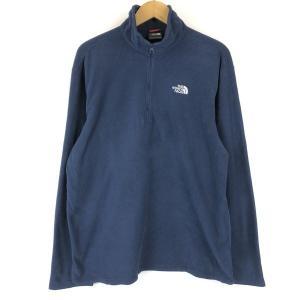 ノースフェイス フリースジャケット ハーフジップ インナー系薄手素材 無地 ネイビー系 メンズL n013703|outfit-vintage