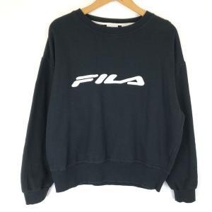 フィラ ロゴプリントスウェット ワッペン/刺繍 ビッグサイズ 90年代 ブラック系 レディースXL n014028|outfit-vintage
