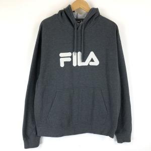 【古着】 FILA フィラ ロゴプリントパーカー ワッペン 90年代 グレー系 メンズXL 【中古】 n014121|outfit-vintage