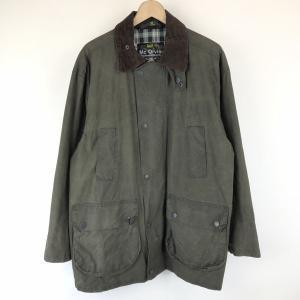 【古着】 Mc Orvis オービス オイルドジャケット made in EANGLAND コーデュロイ襟 オリーブ系 メンズM 【中古】 n015053|outfit-vintage
