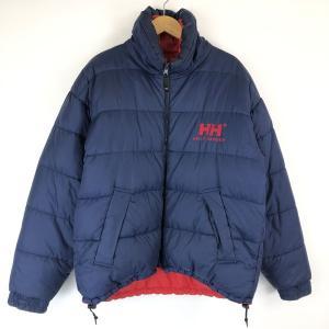 【古着】 HELLY HANSEN ヘリーハンセン ダウンジャケット リバーシブル 刺繍 ネイビー系 メンズM 【中古】 n015300|outfit-vintage