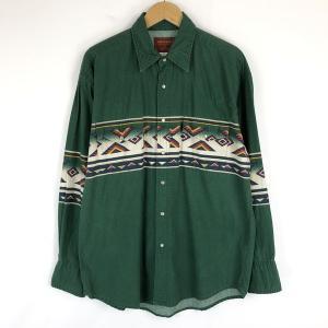 Wrangler ラングラー RUSTLER ウエスタンシャツ チマヨ柄 80年代 ヴィンテージ 長袖 グリーン系 メンズL|outfit-vintage