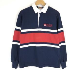 バーバリアン ラグビーシャツ made in CANADA カレッジ刺繍 ライン入り 長袖 ネイビー系 メンズS n017616 outfit-vintage