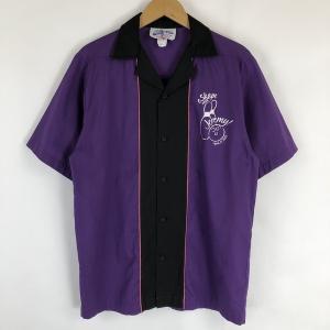 【古着】 Crusin USA ボーリングシャツ 切り替えデザイン ワンポイント 半袖 パープル系 メンズS 【中古】 n017710|outfit-vintage
