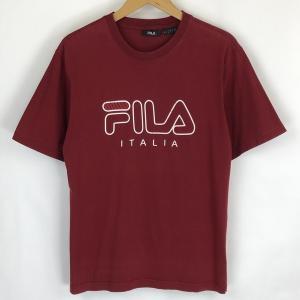 【古着】 FILA フィラ ロゴプリントTシャツ レッド系 メンズS 【中古】 n018340|outfit-vintage