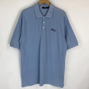 【古着】 FILA フィラ 無地ポロシャツ 刺繍 鹿の子素材 ブルー系 メンズXL 【中古】 n018357|outfit-vintage