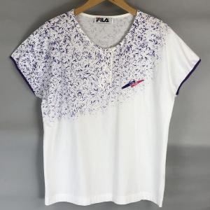 FILA フィラ スポーツTシャツ made in ITALY ヘンリーネック 刺繍 90年代 ヴィンテージ ホワイト系 レディースXL n018510|outfit-vintage