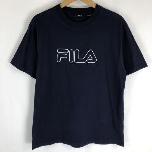 【古着】 FILA フィラ ロゴプリントTシャツ ネイビー系 メンズS 【中古】 n018984|outfit-vintage