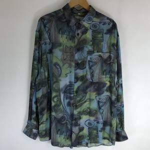 CLUB D'AMINGO 総柄シャツ レーヨンシャツ ぼかし柄 手書き風 ヴィンテージ 長袖 ブルー系 メンズXL n019236|outfit-vintage