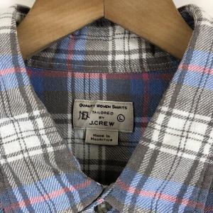 【古着】 J.CREW ジェイクルー ライトフランネルシャツ チェック柄 グレー系 メンズL n022121 outfit-vintage 02