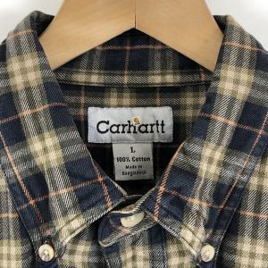 Carhartt カーハート ライトフランネルシャツ ボタンダウン チェック柄 オリーブ系 メンズL n022125|outfit-vintage|02