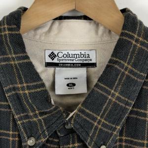 ロンビア ライトフランネルシャツ ボタンダウン チェック柄 へリンボーン生地 グレー系 メンズXL|outfit-vintage|02