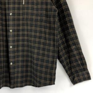 ロンビア ライトフランネルシャツ ボタンダウン チェック柄 へリンボーン生地 グレー系 メンズXL|outfit-vintage|04