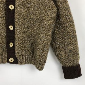 レディースカーディガン ニットアウター 霜降り 厚手 ヴィンテージ ブラウン系 レディースL n022246 outfit-vintage 03