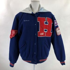 【古着】 RENNOC classic スタジアムジャンパー スタジャン フード/セーラーカラー ブルー系 レディースS n022504|outfit-vintage
