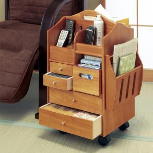 匠木工 天然木 木製 テーブル まわりの 便利 ワゴン ハイタイプ キャスター付き ローテーブルの写真