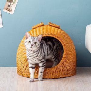 ちぐら ペットちぐら 猫ちぐら ラタン 籐 キャットハウス ペットグッズ 猫用品 猫グッズ ポイント10倍 送料無料