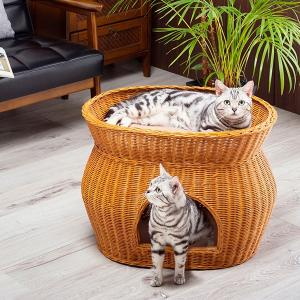 キャットハウス 2段ベッド 猫 ベット ドーム型 ペットベッド 小型犬にもおすすめ ふかふかクッション付き ラタン|outlet-f