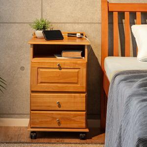fam+/ファムプラス 桐製 木製 ベッドサイド ワゴン コンセント付き インテリア 収納 テーブル ナイトテーブル outlet-f