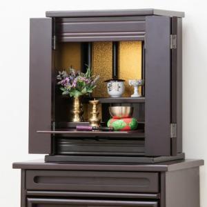仏壇 コンパクト ミニ 小型 上置型 折れ戸式扉 スライド棚付き 引き出し付き 上置き仏壇 14号 完成品 送料無料