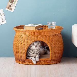 キャットハウス 猫ベッド ガラス天板 2way ガラステーブル カフェテーブル ペット用ベッド センターテーブル リビングテーブル ラタン|outlet-f