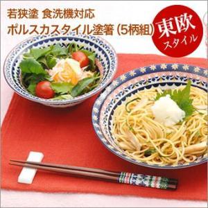 日本製 若狭塗 お箸セット 5個組 ポーランド伝統デザイン Porska Style ポルスカスタイル 食洗機対応 箸 23cm 送料無料