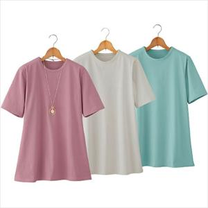 Tシャツ レディース 半袖 耐水 吸湿 速乾 強撚綿100% 両脇スリット Tシャツ3色組 同サイズ 3L 4L 5L|outlet-f