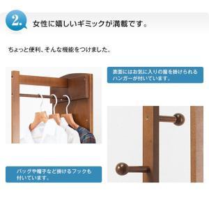 ポールハンガー ミラー付き 回転ハンガー 鏡 ミラー 姿見 全身 ハンガーポール おしゃれ 木製|outlet-f|04