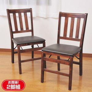椅子 チェア セット 天然木折りたたみ式ダイニングチェア2脚組 完成品|outlet-f